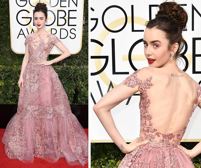 "Lily Collins is all kinds of fairytale magic in this elegant Zuhair Murad creation. ""This is surreal! I've been watching since I was little,"" the Best Actress in a Musical or Comedy nominee gushed on the red carpet."