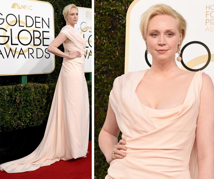 *Game of Thrones*'s Gwendoline Christie opted for a pale pink, floor-length gown.