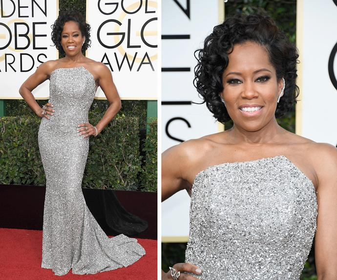 Regina King makes a grand entrance.