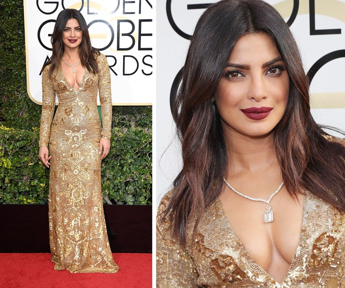 """Priyanka Chopra recently revealed she was struggling choosing a dress, but it seems she picked a winner! """"Sometimes too many options aren't a good thing,"""" the 34-year-old confessed."""