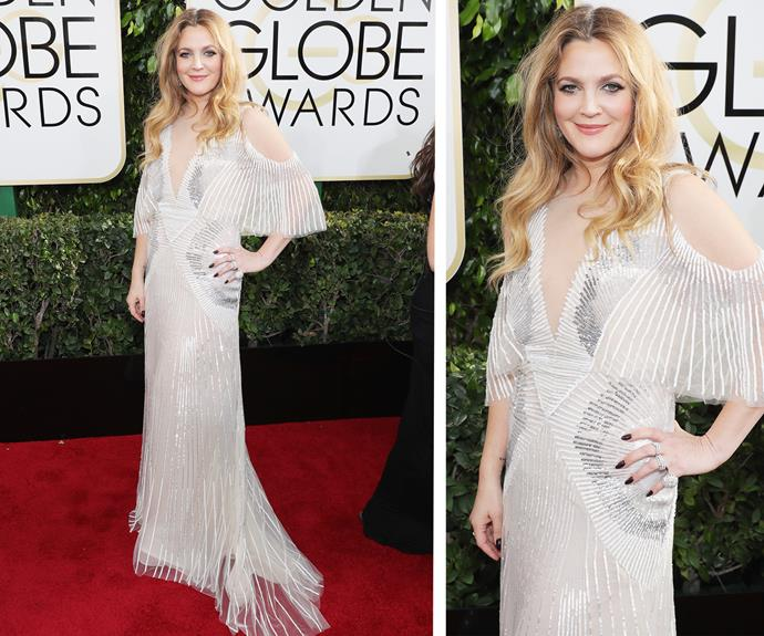 Drew Barrymore looks positively dreamy in this gorgeous white frock.