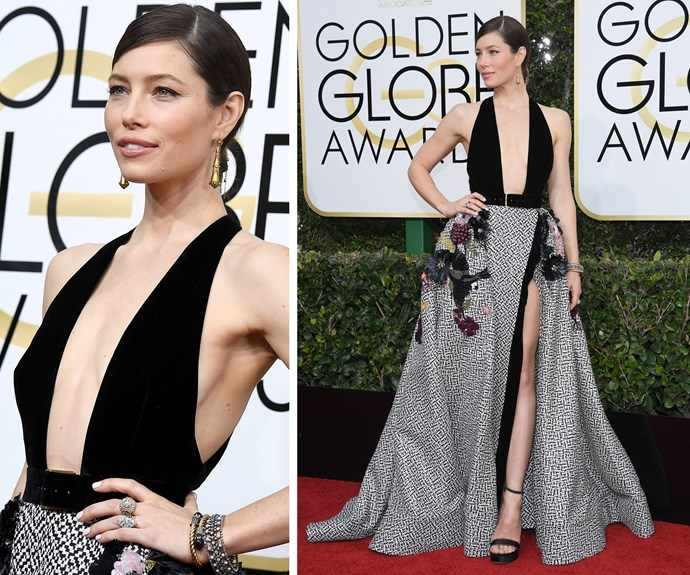Jessica Biel opted for a dramatic Elie Saab dress, with a plunging neckline and floral details.