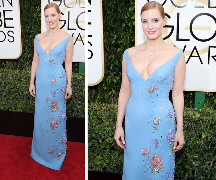 Best Actress nominee Jessica Chastain oozed elegance in a bright blue dress.