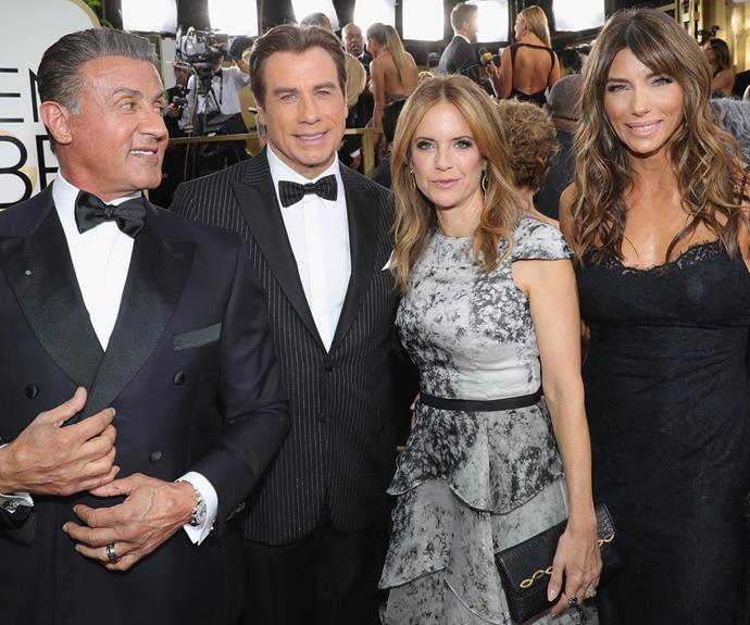 Say cheese! Sylvester Stallone, John Travolta, Kelly Preston and Jennifer Flavin.