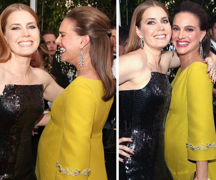 Amy Adams and Natalie Portman catch up on the red carpet.