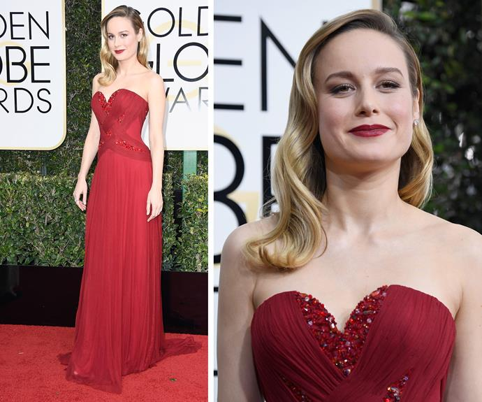 *Room* stunner Brie Larson personifies grace in this deep red gown.