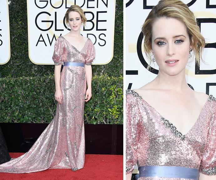 *The Crown*'s Claire Foy shimmers and shines in this belted number.