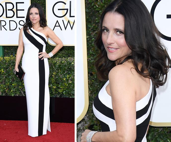 Golden Globes pro Julia Louis Dreyfus had us seeing monochrome magic in her eye-popping dress.