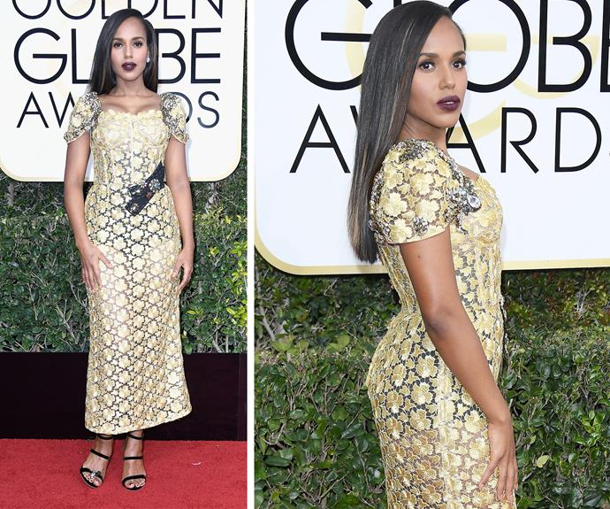 Kerry Washington dared to bare in this mesh dress.