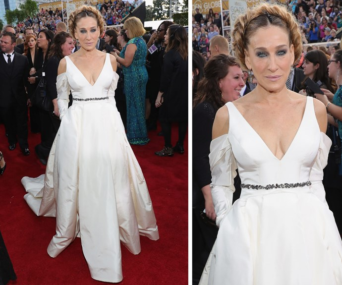 SJP's braided hairdo added a youthful twist to her bridal-inspired dress.