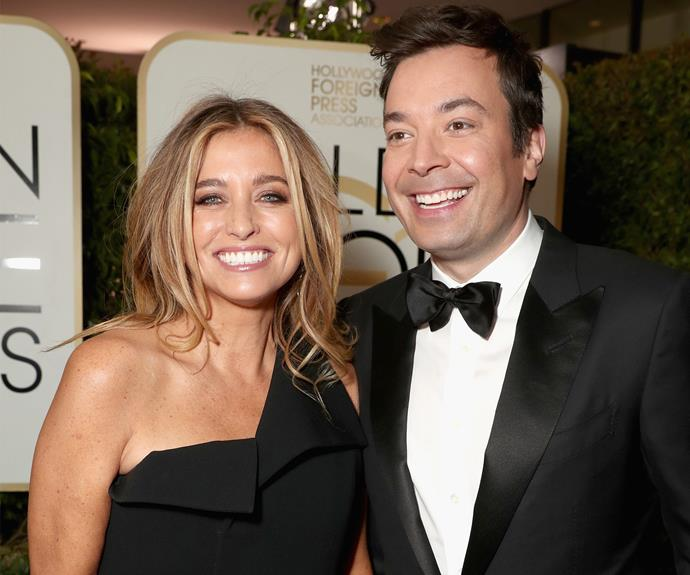 The man of the hour, Jimmy Fallon, and his wife Nancy!
