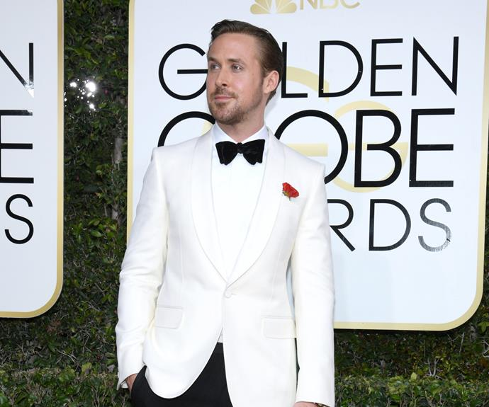 Ryan Gosling loves a white blazer and black bow-tie combo.