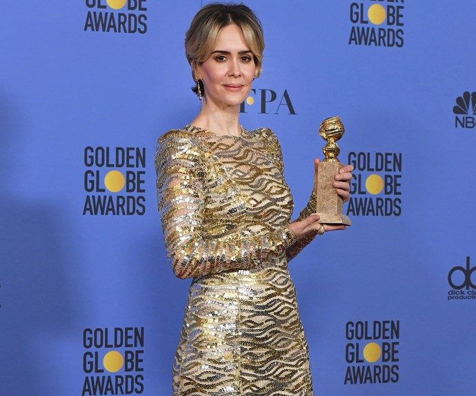 Sarah Paulson snaps a gong for her role in the critically acclaimed mini-series *The People v. O. J. Simpson: American Crime Story*.