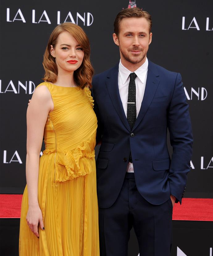 Ryan Gosling and his *La La Land* co-star Emma Stone.
