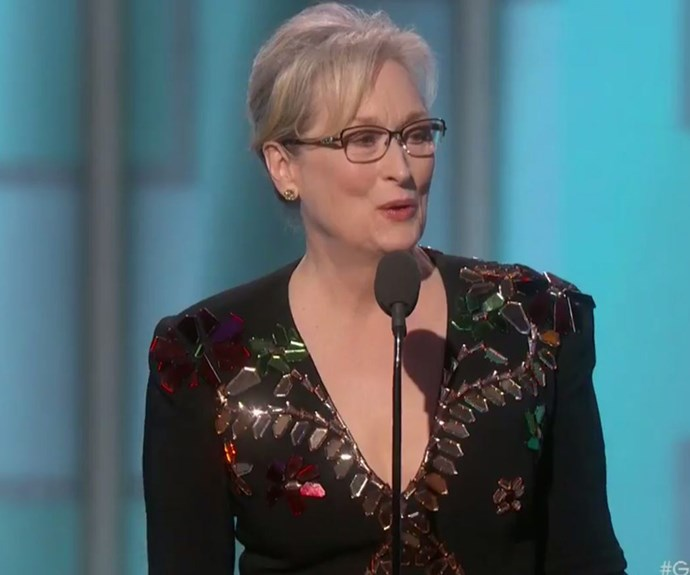 """The legendary actress capped off her speech with a message of hope: """"As my friend Princess Leia said to me once, take your broken heart, make it into art."""""""