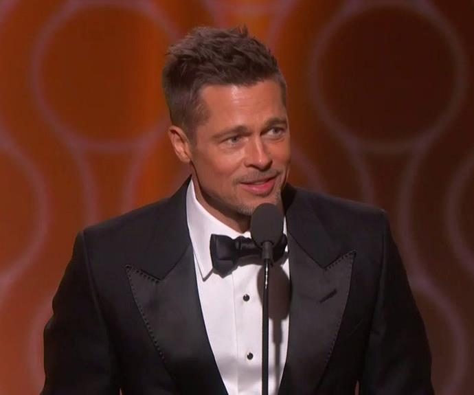Boom! Brad Pitt looked better than ever as he took to the stage to present *Moonlight*, which his production company, Plan B, helped create. The audience were delighted by the newly single actor's surprise appearance and cheered him on as he introduced the film, which won Best Motion Picture - Drama. **Watch Brad's return to the stage in the next slide**