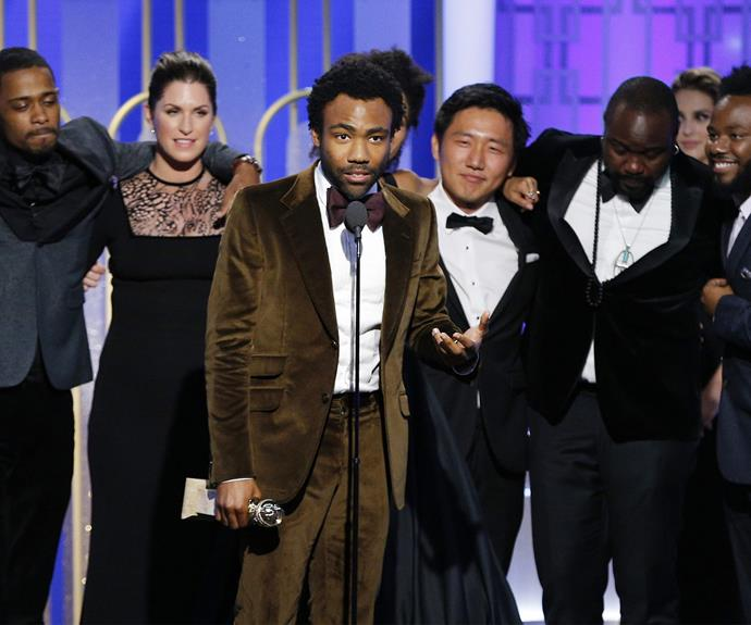 Tonight is Donald Glover's night! He landed the Best Actor award for *Atlanta*.