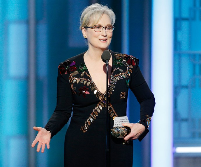 """Meryl Streep used her acceptance speech for the Cecil B. Demille Award to call out Donald Trump, referencing the time the President Elect mocked a New York Times reporter with a disability. """"When the powerful use their position to bully we all lose,"""" she explained."""