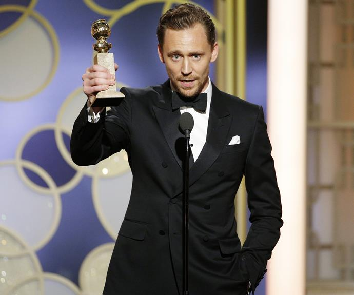 Tom Hiddleston is taking home the Best Actor in a Television Movie or Miniseries for *The Night Manager*.