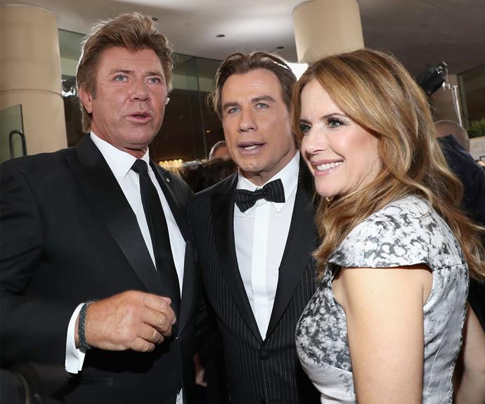 Aussie entertainment presenter Richard Wilkins chats to John Travolta and his wife Kelly Preston.