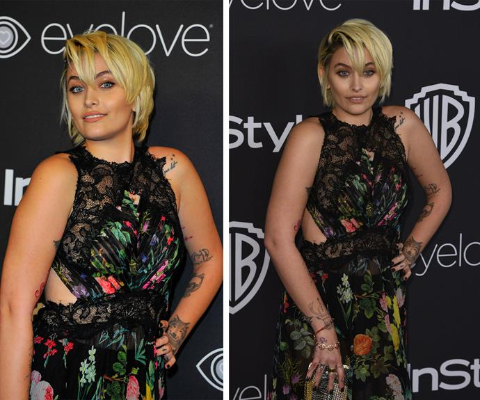 18-year-old Paris Jackson looked incredible in a floral Tadashi Shoji dress as she attended the *InStyle* and Warner Bros. Golden Globes bash in LA.