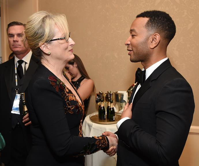 A star-struck John Legend shakes hands with the woman of the night, Meryl Streep. **Relive Meryl's powerful  Cecil B. Demille speech in the next slide**