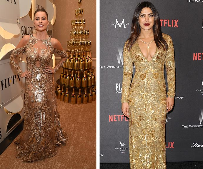 Golden girls! Sofia Vergara strikes a pose next to a Moet tower while her pal Priyanka Chopra oozes elegance.
