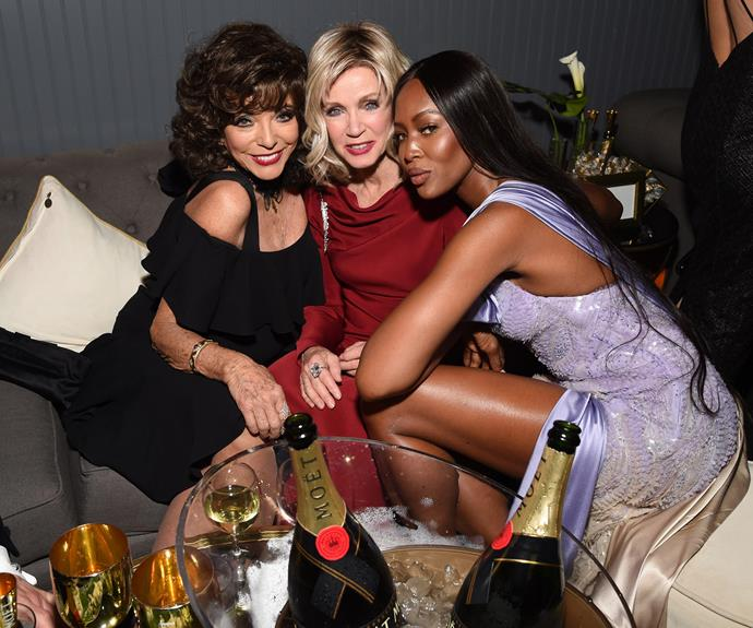 Girl gang! Joan Collins, Donna Mills and Naomi Cambpell kick back at the Weinstein Company and Netflix Golden Globe party.