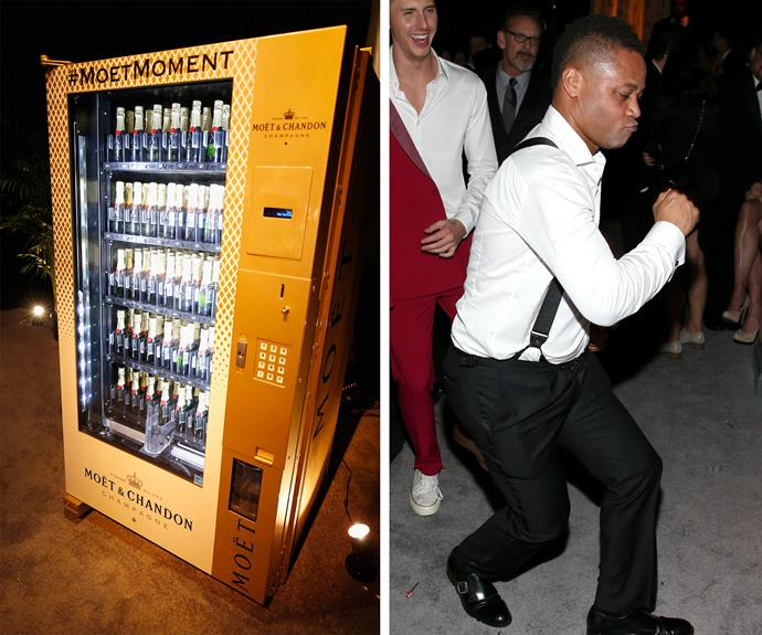 We'd be dancing too if there was a Moet vending machine! How good are Cuba Gooding Jr.'s moves?