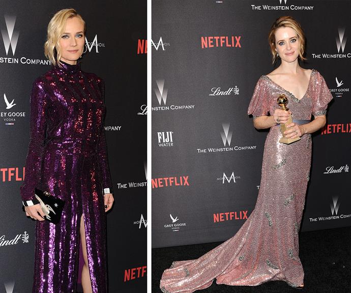 Both Diane Kruger and Claire Foy opted for sparkling ensembles.