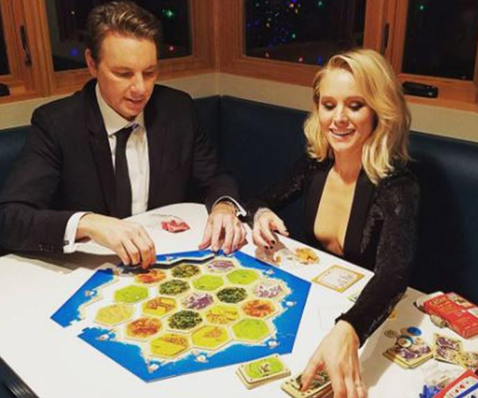 "This is our kind of party! Dax Shepard and his wife Kristen Bell settle in for a good old fashioned board game. ""Now the REAL event begins!!! #settlersofcatan,"" Dax penned."""
