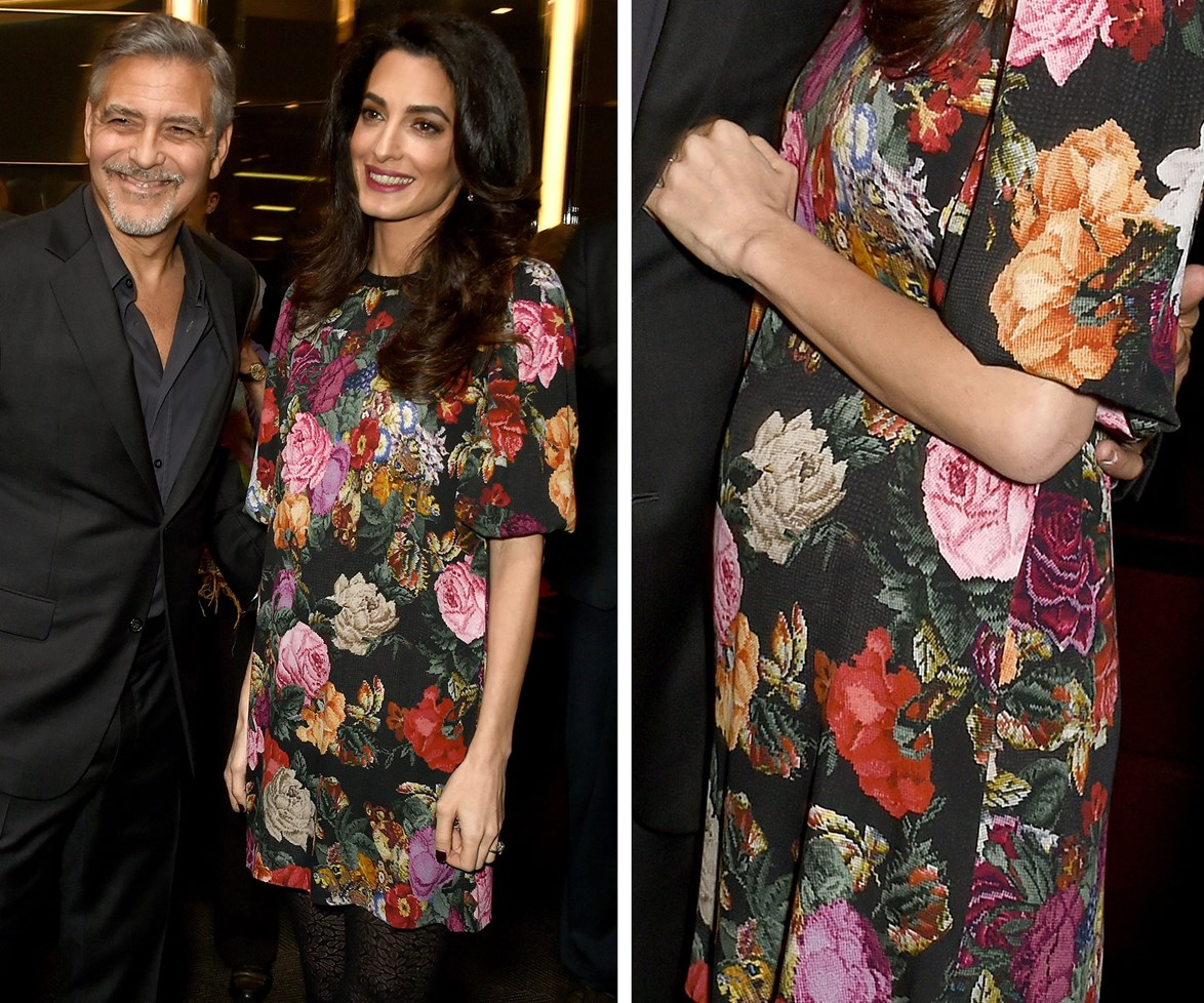 Amal's baby bump was spotted as the couple attended a special Netflix screening of The White Helmets.