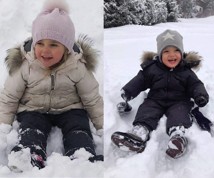Crown Princess Madeleine of Sweden shared the sweetest snaps of her snow bunnies Princess Leonore, 2, and one year old Prince Nicolas enjoying the icy weather.
