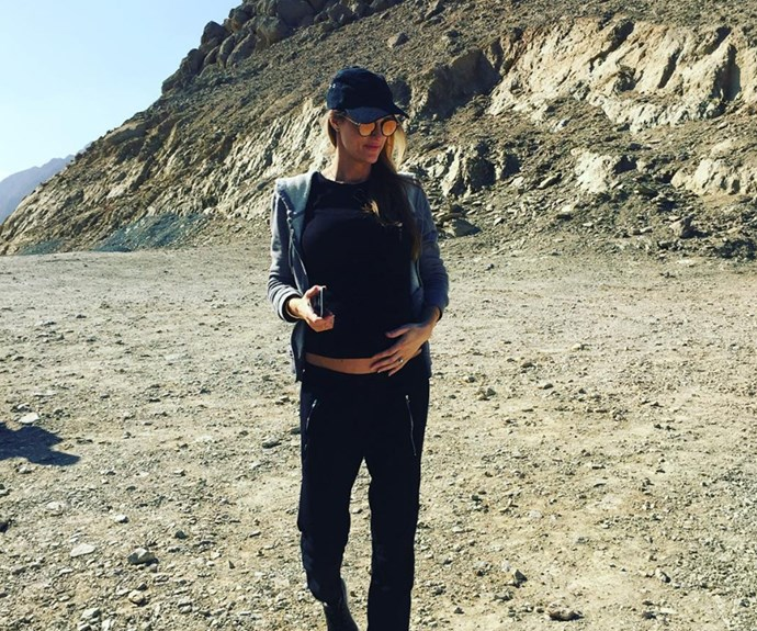 """Expectant dad Ronan Keating took to Instagram to gush over his pregnant wife Storm with this stunning snap from their romantic Oman getaway. """"Finally arrived in magnificent #Oman .... O-man she looks good,"""" he wrote."""