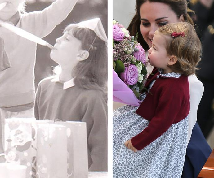 "Sporting a front fringe underneath a celebratory hat, Catherine cheerfully blows into a party streamer, appearing the spitting image of her now-daughter, Princess Charlotte. *[(Via: Party Pices)](http://www.partypieces.co.uk/about-us|target=""_blank""
