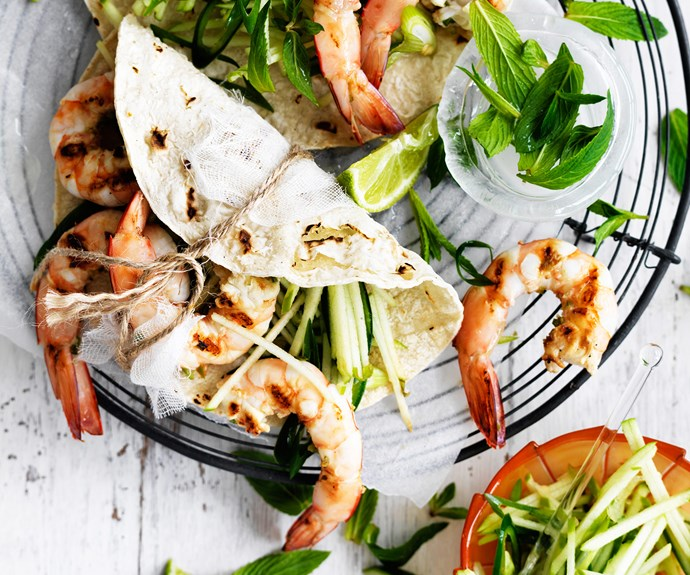 "Heat things up with these [chilli prawns with green apple salsa!](http://www.foodtolove.com.au/recipes/chilli-prawns-with-green-apple-salsa-27004|target=""_blank""