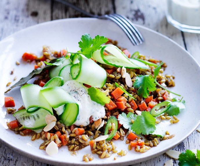 "The whole family will go crazy with this [spiced freekeh with cucumber and garlic minted yoghurt recipe.](http://www.foodtolove.com.au/recipes/spiced-freekeh-with-cucumber-and-garlic-minted-yoghurt-16895|target=""_blank""