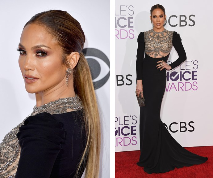 Jennifer Lopez cuts a stunning figure in a bedazzled black gown. But where is rumoured boyfriend and fellow nominee Drake?
