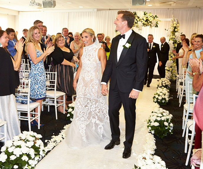 The couple were all smiles as they left the ceremony.