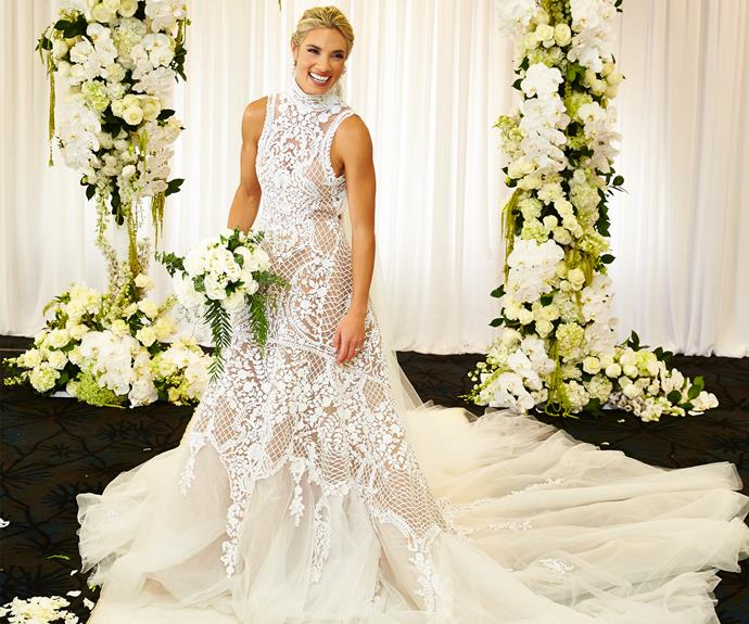 Lauren was dressed in a bespoke J'Aton Couture French lace dress.