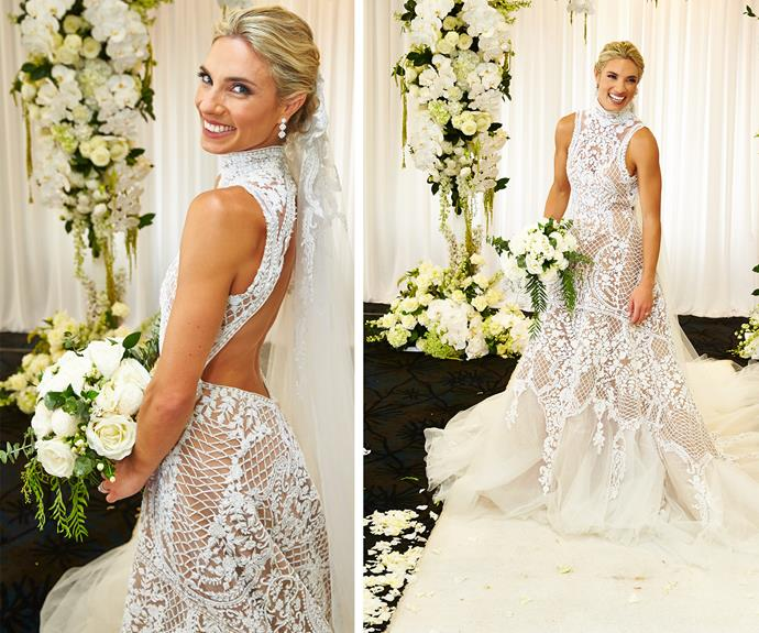 The look was completed with a with a show-stopping train and floor-length veil, which Loz says made her feel like a queen.