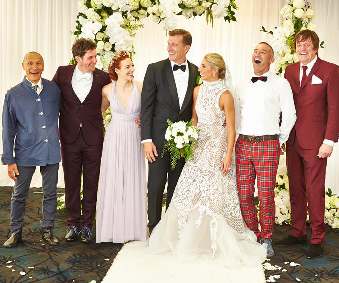 The Wiggles family were united for the happy occasion including Blue Wiggle Anthony Field, newlywed Wiggles Emma Watkins and Lachy Gillespie and original Wiggles Murray Cook and Jeff Fatt.