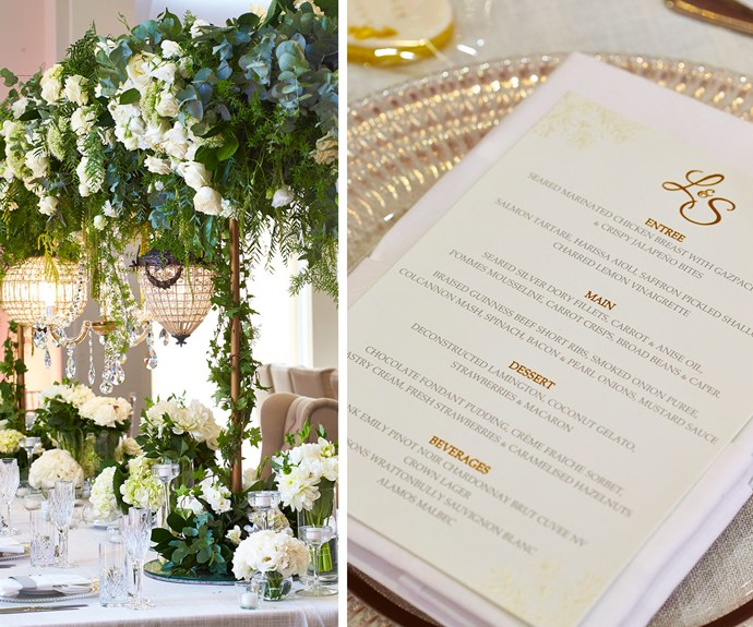 The reception in a grand room overlooking Sydney Harbour was styled by Diane Khoury from DK Weddings & Events, Decorative Events & Exhibitions and Chandeliers to Die For.
