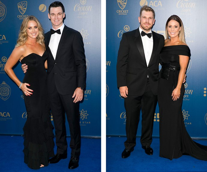 Back to black! Couples Sarah Ray and Peter Handscomb and Aaron Finch and Amy Griffiths went for the classic look.