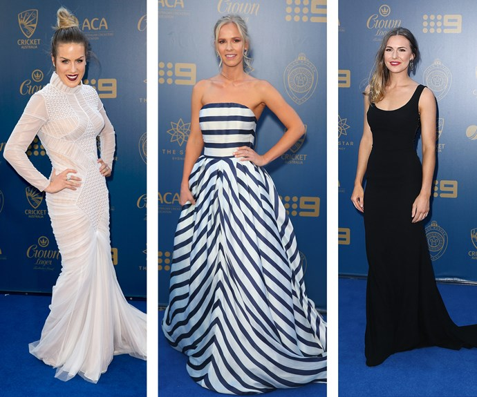 Black, white, and everything in between! The ladies certainly brought their A-game on the blue carpet. Here, Julia Wade, Harriet Palmer and Cheri Christian pose solo in their monochrome frocks.
