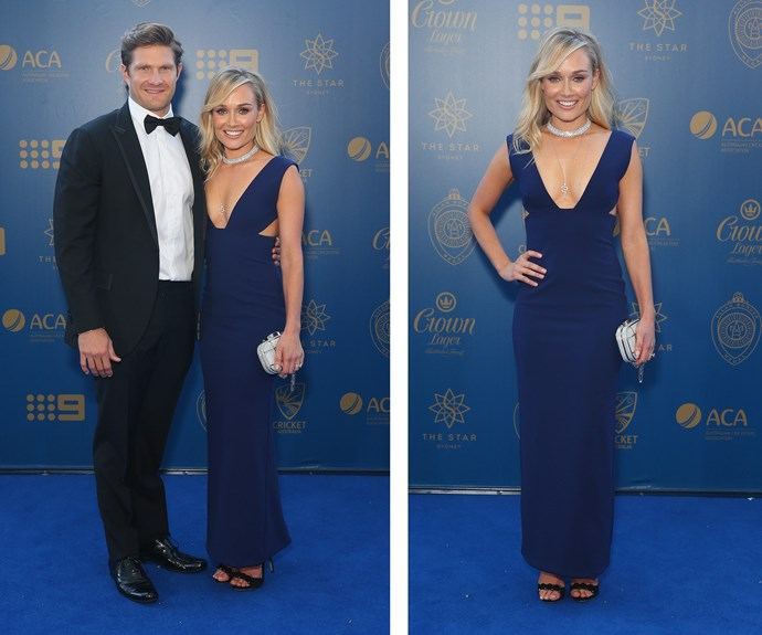 Shane Watson poses alongside wife Lee Furlong, who opted for sheer elegance in this figure-hugging navy gown.