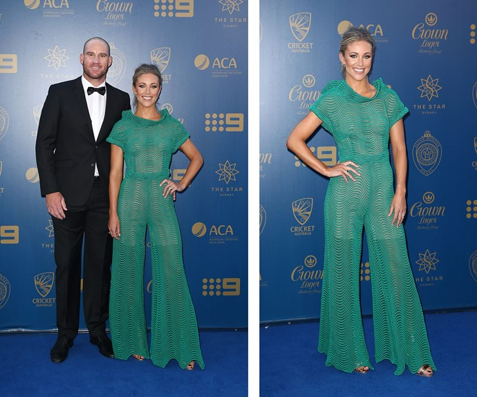 Brianna Hastings made a statement in this emerald green pantsuit as she posed proudly alongside hubby John Hastings.