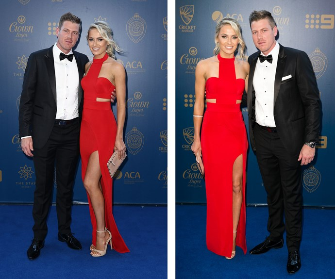 Lady in red, Brianna Sheppard, was all legs beside James Faulkner.