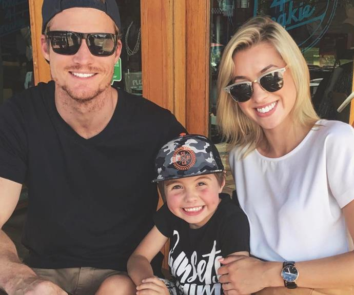 *The Bachelor*'s Alex Nation and her beau Richie Strahan are settling into family life quite nicely. The single mum to Elijah, six, shared this sweet snap on Instagram with a family and love heart emoji!