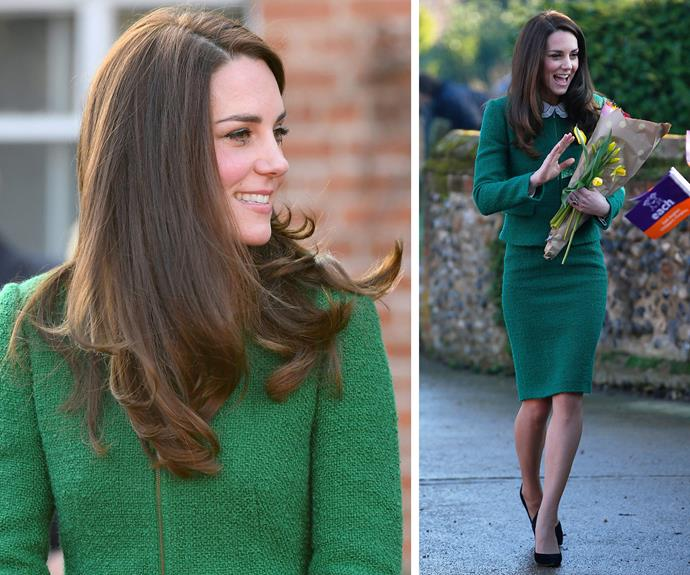 **January 24:** Kate [visited](http://www.nowtolove.com.au/royals/british-royal-family/duchess-catherine-talks-princess-life-at-hospice-visit-33557) the East Anglia Children's Hospice, which she is a patron of, wearing an emerald green suit from London brand Hobbs. *Watch a video of the Duchess at the hospice in the next slide*